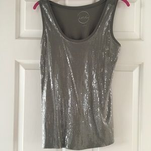 Khaki colored sequined tank top